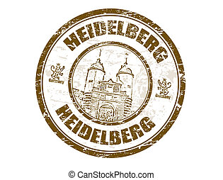 Heidelberg stamp - Grunge rubber stamp with town gate of...