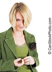 Heidi Booysen #6 - Business woman green jacket, smiling