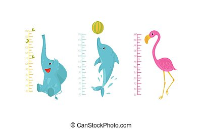 Height Chart for Kids with Funny Animals Vector Set. Childish Growth Measurement Concept