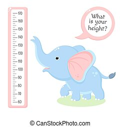 Height chart with cute baby elephant. Kids meter with cartoon animal. Inscription - What is your height? Meter wall or baby scale of growth. Vector EPS8