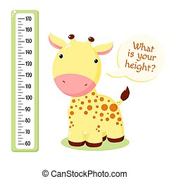 Height chart with cute baby giraffe. Kids meter with cartoon animal. Inscription - What is your height? Meter wall or baby scale of growth. Vector EPS8