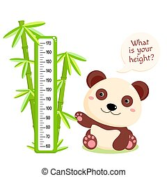 Height chart with cute panda and bamboo. Kids meter with cartoon animal. Inscription - What is your height? Meter wall or baby scale of growth. Vector EPS8