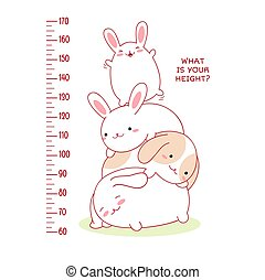 Height chart with cute baby rabbit. Kids meter with cartoon animals. Inscription - What is your height? Meter wall or baby scale of growth. Vector EPS8