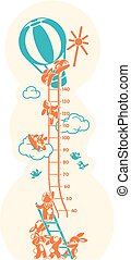 Height charts. Sunbeams, Meter wall or height meter from 40 to 140 centimeter.