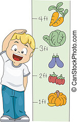 Illustration of a Kid Measuring His Height