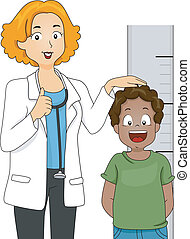 Illustration of a Kid with His Height Being Measured