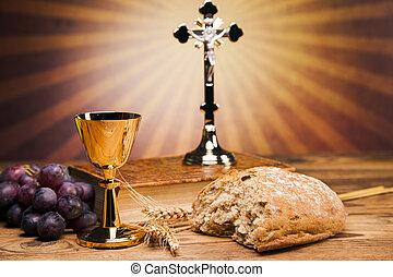 heilig, voorwerpen, bijbel, brood, en, wijn.
