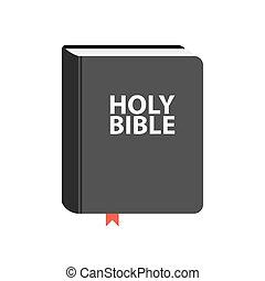heilige bijbel, boek, icon., plat, vector, illustratie