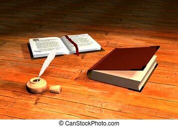 heilige bijbel, en, slagpen en inkt
