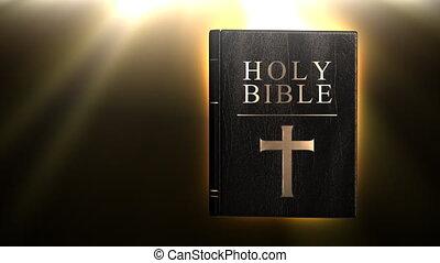 heilige bijbel, met, gloeiend, stralen, in, bac