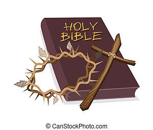 heilige bijbel, met, houten, kruis, en, kroon, van, doorn