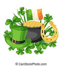 heilige, patricks, tag, card., fahne, irland, goldtopf,...