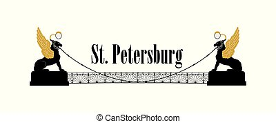 heilige, stad, leeuwen, petersburg, landmark., symbool, rus ikoon, straat., russia., brug, gevleugeld, straat