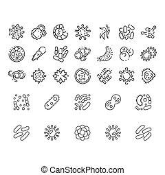 heiligenbilder, bakterien, virus, sammlung, vektor, symbole, satz, superbug