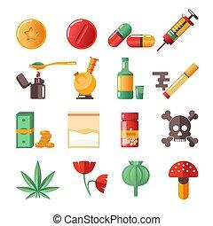 heiligenbilder, drogen, freigestellt, marihuana, ekstase,...