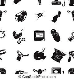 heiligenbilder, groß,  symbol, Sammlung, vektor, Schwarz, abbildung, Muster, Schwangerschaft, Stil, Bestand