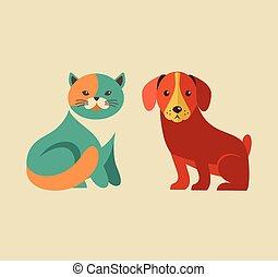 heiligenbilder, hund, sammlung, katz, vektor, illustrationen