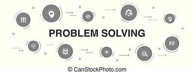 heiligenbilder, idee, gemeinschaftsarbeit, template., problem, brainstorming, infographic, analyse, lösen, schritte, 10