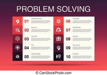 heiligenbilder, idee, gemeinschaftsarbeit, template., problem, brainstorming, option, infographic, analyse, lösen, 10