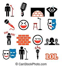 heiligenbilder, lachender, satz, komiker, unterhaltung, leute, einstellung komödie, vektor