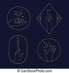 heiligenbilder, logos, weibliche , gesten, satz, hände