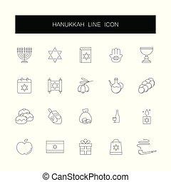 heiligenbilder, pack., set., linie, hanukkah