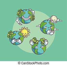 heiligenbilder, planet erde, kawaii, satz, lächeln