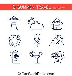 heiligenbilder, reise, sommer, satz, vector.