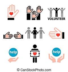 heiligenbilder, satz, andere, begriff, wohltätigkeit, portion, freiwilliger, leute, vektor