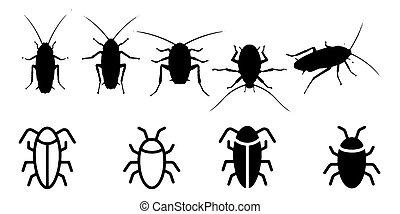 heiligenbilder, satz, küchenschabe, hintergrund, weißes, insekt
