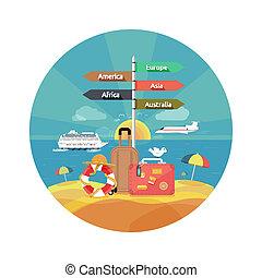 heiligenbilder, satz, von, reisen, und, planung, a, sommer urlaub