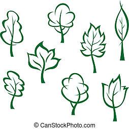 heiligenbilder, und, symbole, von, grüne bäume