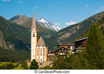 Heiligenblut town under the Grossglockner mountain in Hohe Tauern national park