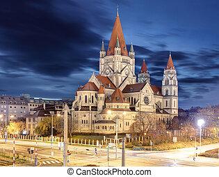 heiliger franz von assisi church and Danube river in Vienna, Austria