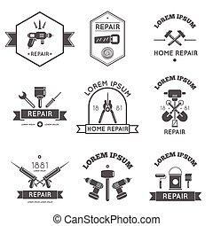 heim reparatur, etiketten, werkzeuge, wohnung