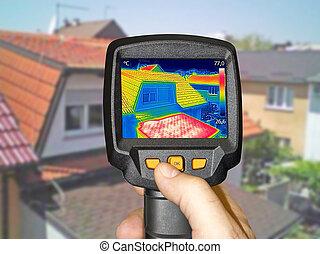 heime, warmed, familie, dächer, aufnahme, thermal, fotoapperat
