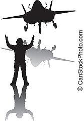 heimelijkheid, silhouette, vliegtuig