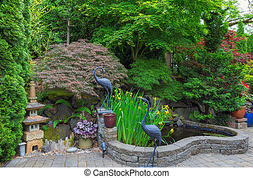 heimgarten, hinterhof, teich, mit, dekor