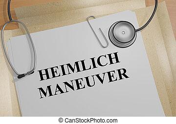 3D illustration of 'HEIMLICH MANEUVER' title on medical document