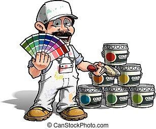 heimwerker, farbe, -, uniform, pflückend, weißes, lackierer
