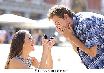 heiraten, frau, fragen, mann, vorschlag