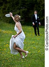heiraten, fruehjahr, paar, stallknecht, -, junger, braut, posierend, frisch, draußen, wedding, reizend, tag