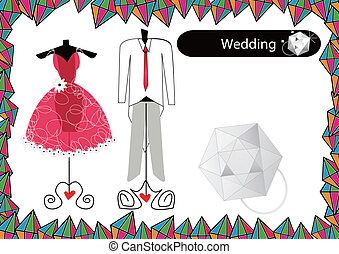 heiraten kleid, abstrakt
