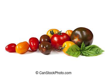 Heirloom Tomatoes - Heirloom tomatoes with fresh basil,...