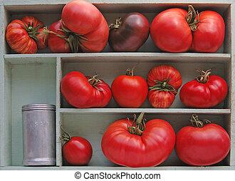 Heirloom tomatoes with salt shaker