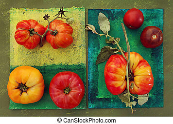 Heirloom tomatos on painted surfaces. Clockwise from lower left: Red Brandy Wine and Yellow Brandy Wine, Caver (?), Black Prince, and a Striped German/Hess.