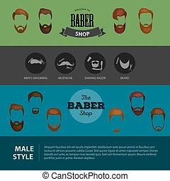 heirsyle, 頭, 人を配置する, besrds, mustaches., shop., ヘアカット, 相続人, 隔離された, コレクション, burber, 最新流行である, forbarber, 人々, 口ひげ, アイコン, あごひげ, デザイン, タイプ, heircut