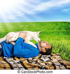heiser, hund, junger hund, spielende , mit, glücklich, mann