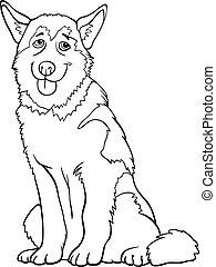 heiser, oder, malamute, hund, karikatur, für, färbung