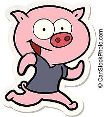 heiter, aufkleber, trainieren, karikatur, schwein